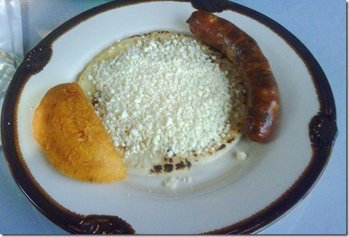 choriz con arepa y queso with empanada at aires colombia-1